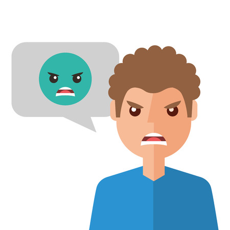 angry young man with emoticon avatar character Stock Vector - 93264751