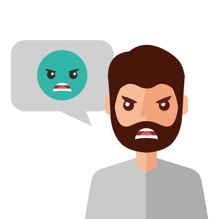 Angry young man with emoticon. Avatar character vector illustration design.