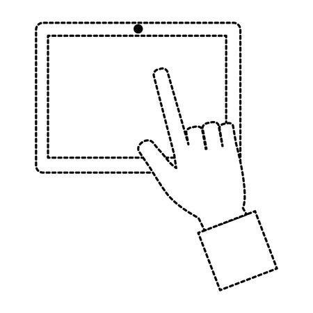 태블릿 장치를 사용 하여 손입니다. 벡터 일러스트 레이 션 디자인.