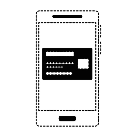Smartphone device with credit card in dotted line illustration.