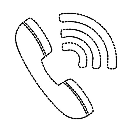 telephone service with waves signal vector illustration design