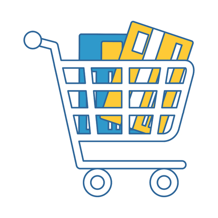 Shopping cart with credit card. Vector illustration design.