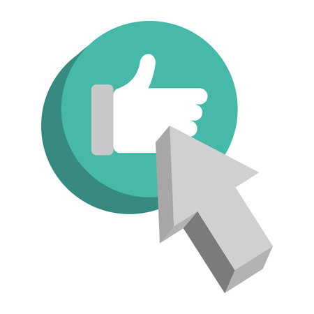 Speech bubble with hand like and pointer. Vector illustration design.