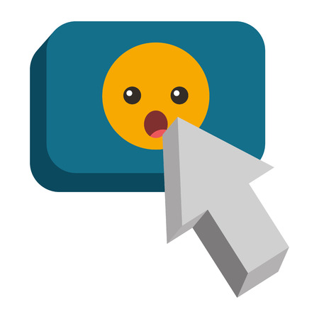 A speech bubble with surprised emoji and pointer vector illustration design Illustration