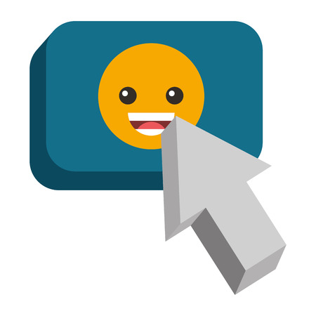 A speech bubble with happy emoji and pointer vector illustration design