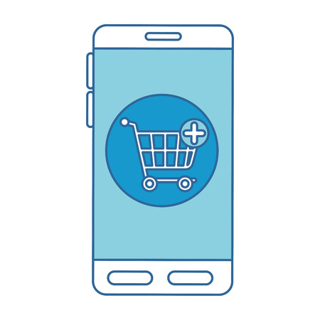A smartphone device with shopping cart vector illustration design Illustration