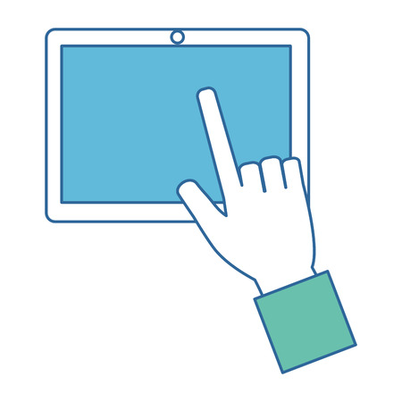 Hands using tablet device. Vector illustration design. 向量圖像