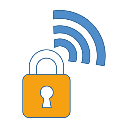 Padlock with wifi signal. Vector illustration design.