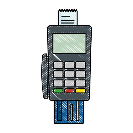Voucher machine with credit card. Vector illustration design.