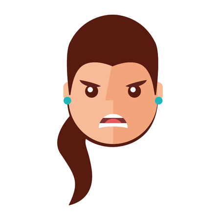 Angry young woman avatar character. Vector illustration design.