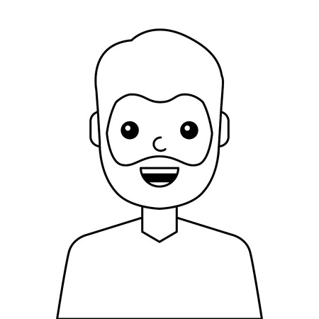 young man happy avatar character vector illustration design