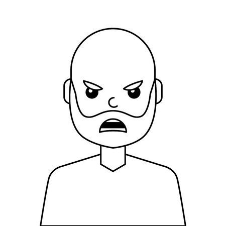 Angry young man avatar character. Vector illustration design.