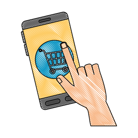 Smartphone device with shopping cart. Vector illustration design.
