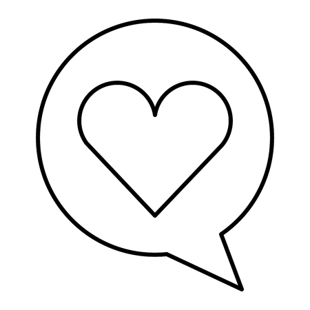 Speech bubble with heart. Vector illustration design. Illustration