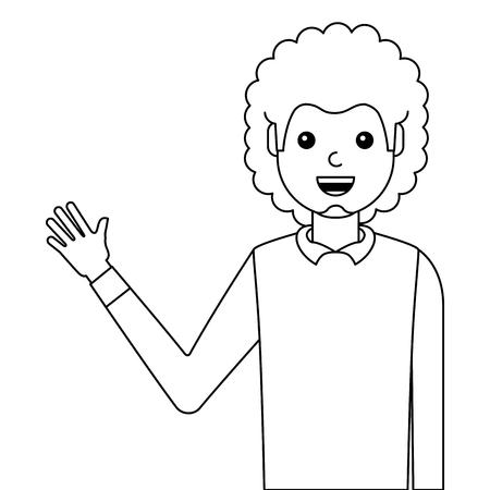 young man waving happy avatar character vector illustration design Illustration