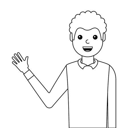 Jovem acenando feliz avatar personagem vector illustration design Foto de archivo - 93249040