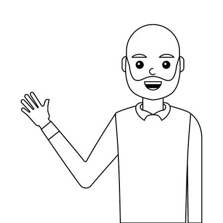 young man waving happy avatar character vector illustration design 向量圖像