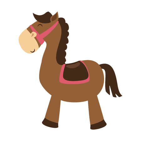 cute horse toy isolated icon vector illustration design 向量圖像