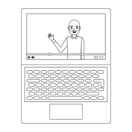 young man waving happy in laptop avatar character vector illustration design