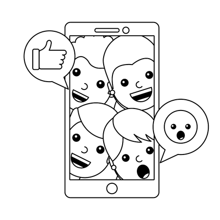 smartphone with community and emoticons vector illustration design