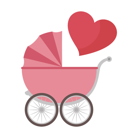 cute baby cart with heart vector illustration design