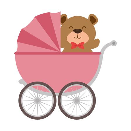 Schattige beer teddy in babywagen. Vector illustratie ontwerp.