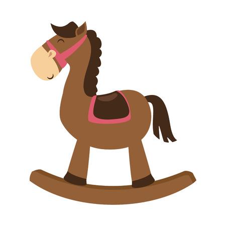 cute horse toy isolated icon vector illustration design Stock Illustratie