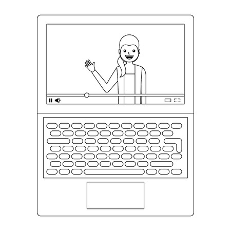 young woman waving happy in laptop avatar character vector illustration Illustration