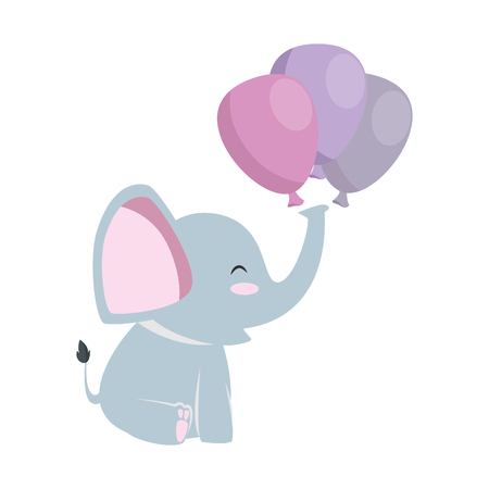 cute little elephant with balloons air vector illustration design Vettoriali