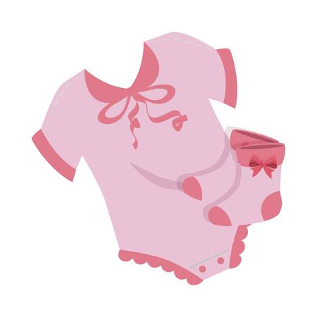 cute baby dress with socks vector illustration design Ilustrace