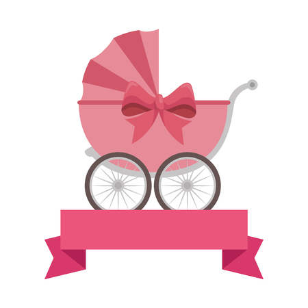 cute baby cart with ribbon vector illustration design
