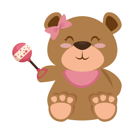 cute bear teddy with jingle bell vector illustration design Illustration