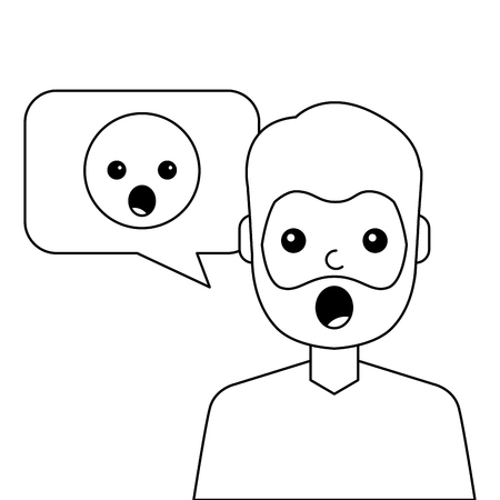 Surprised young man with emoticon. Avatar character vector illustration design.