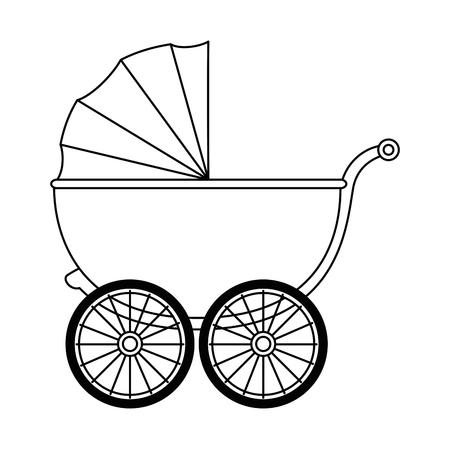 Cute baby cart icon. Vector illustration design. Çizim