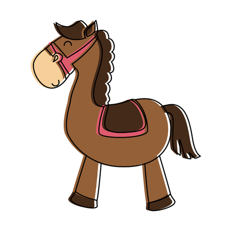 Cute horse toy isolated icon. Vector illustration design. Vettoriali
