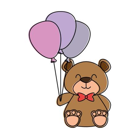 Cute bear teddy with balloons air. Vector illustration design. Illustration