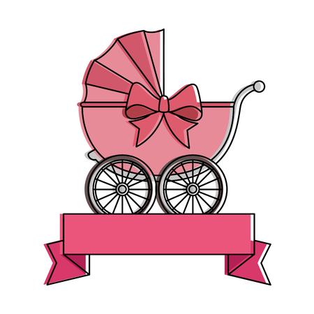 Cute baby cart with ribbon