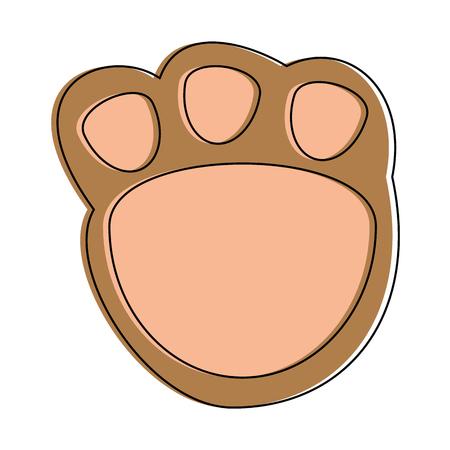 Cute footprint teddy icon. Vector illustration design.