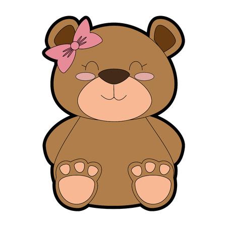 cute bear teddy female vector illustration design Illustration