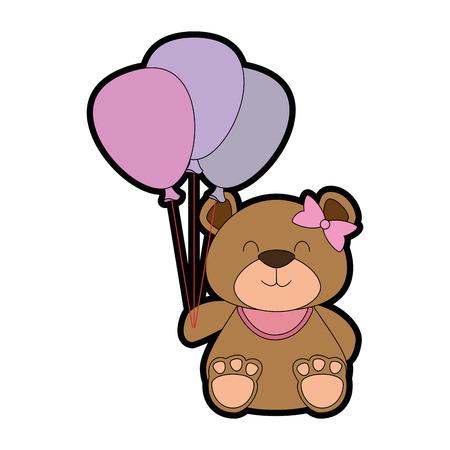 Cute bear teddy with balloons air vector illustration design.