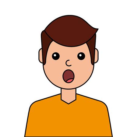Surprised young man avatar character. Vector illustration design.