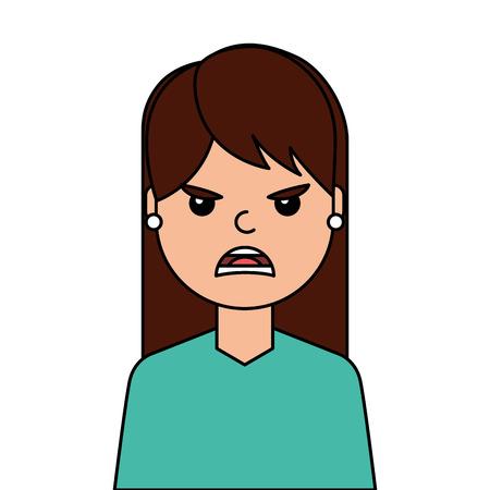 Angry young woman avatar character vector illustration design. Иллюстрация