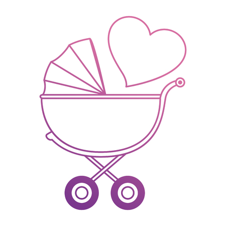 Leuke babykar met ontwerp van de hart het vectorillustratie.