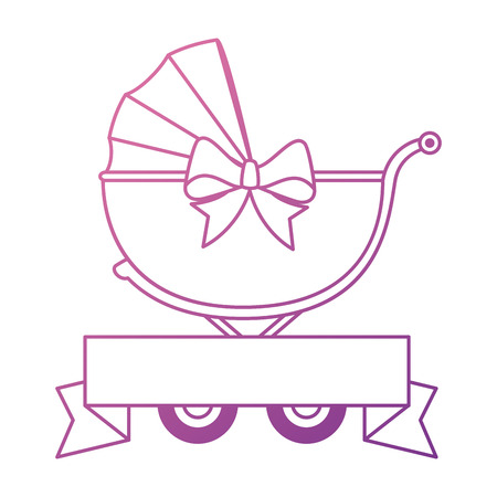 Cute baby cart with ribbon vector illustration design.