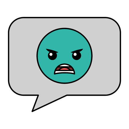 speech bubble with angry emoji vector illustration design Ilustração