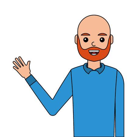 Young man waving happy avatar character vector illustration design. Illustration