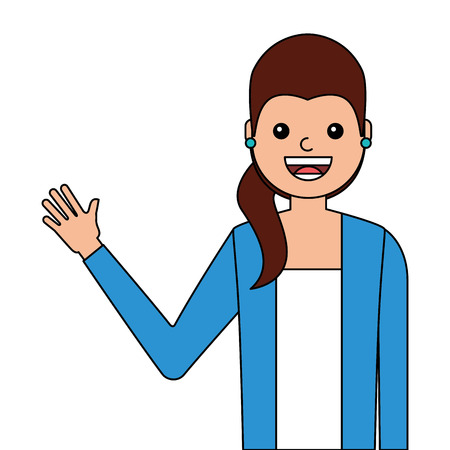 Young woman waving happy avatar character vector illustration design.