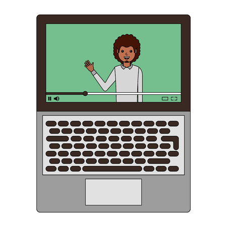 Young man waving happy in laptop avatar character vector illustration design.
