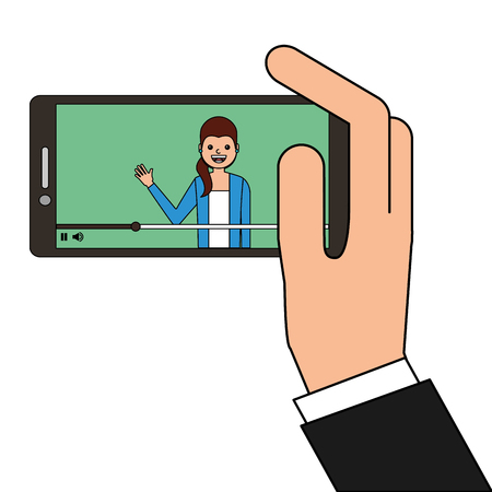 young woman waving happy in smartphone avatar character vector illustration Illustration