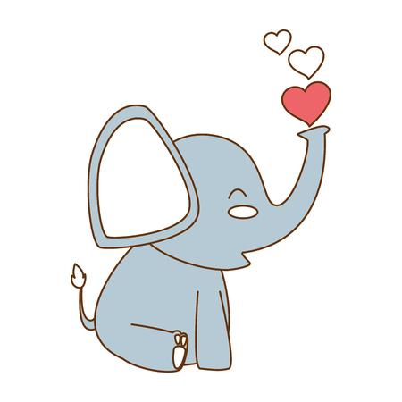 Pequeño elefante lindo con diseño de ilustración vectorial de corazones Foto de archivo - 93254249